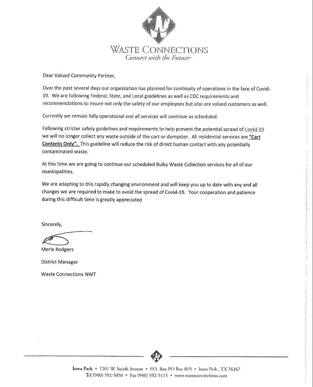 Note from Waste Connections regarding COVID-19 and pick up